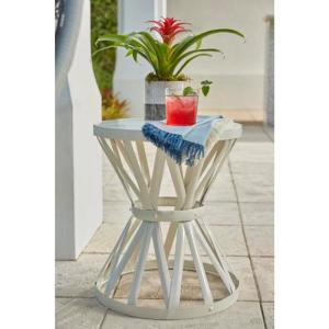 18.9 in. Chalk White Round Metal Outdoor Patio Garden Stool