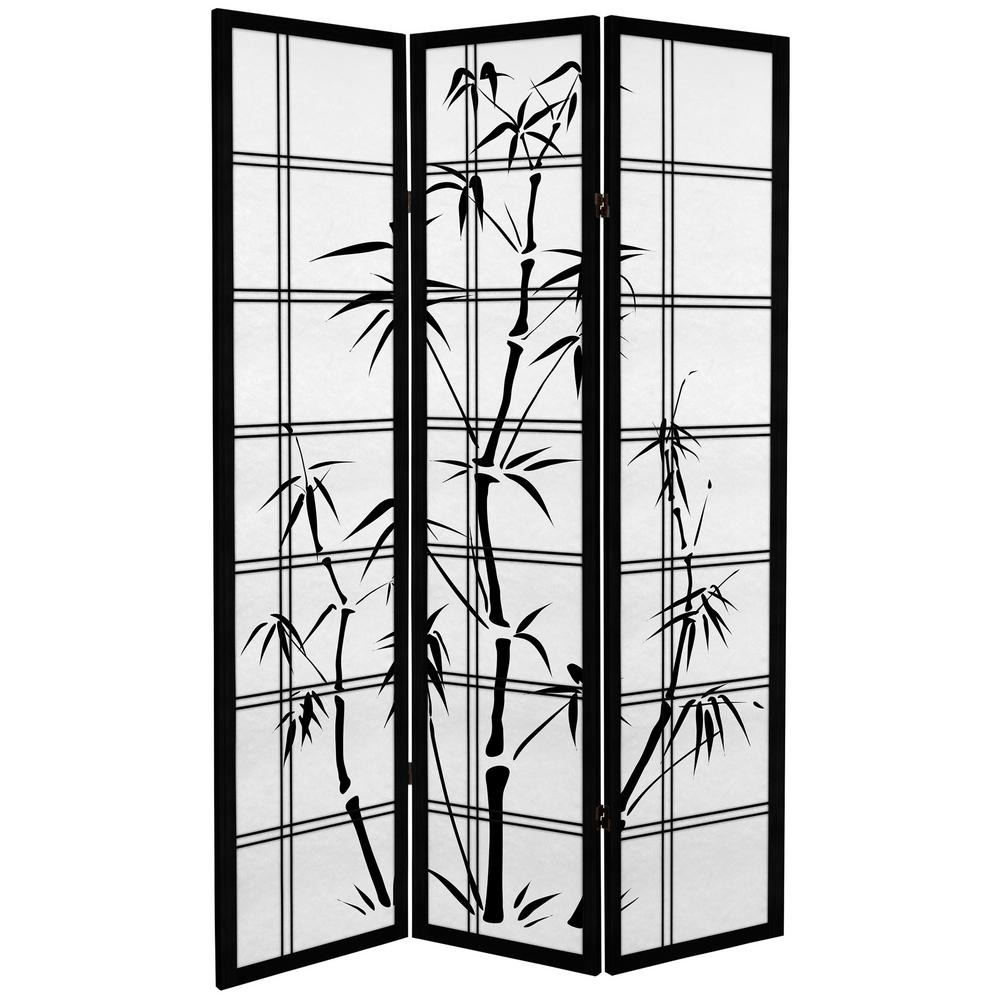 6 ft. Black Canvas Bamboo Tree 3-Panel Room Divider