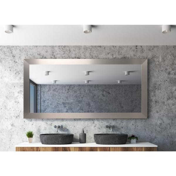 Oversized Silver Composite Hooks Industrial Mission Modern Mirror (65.5 in. H X 32 in. W)