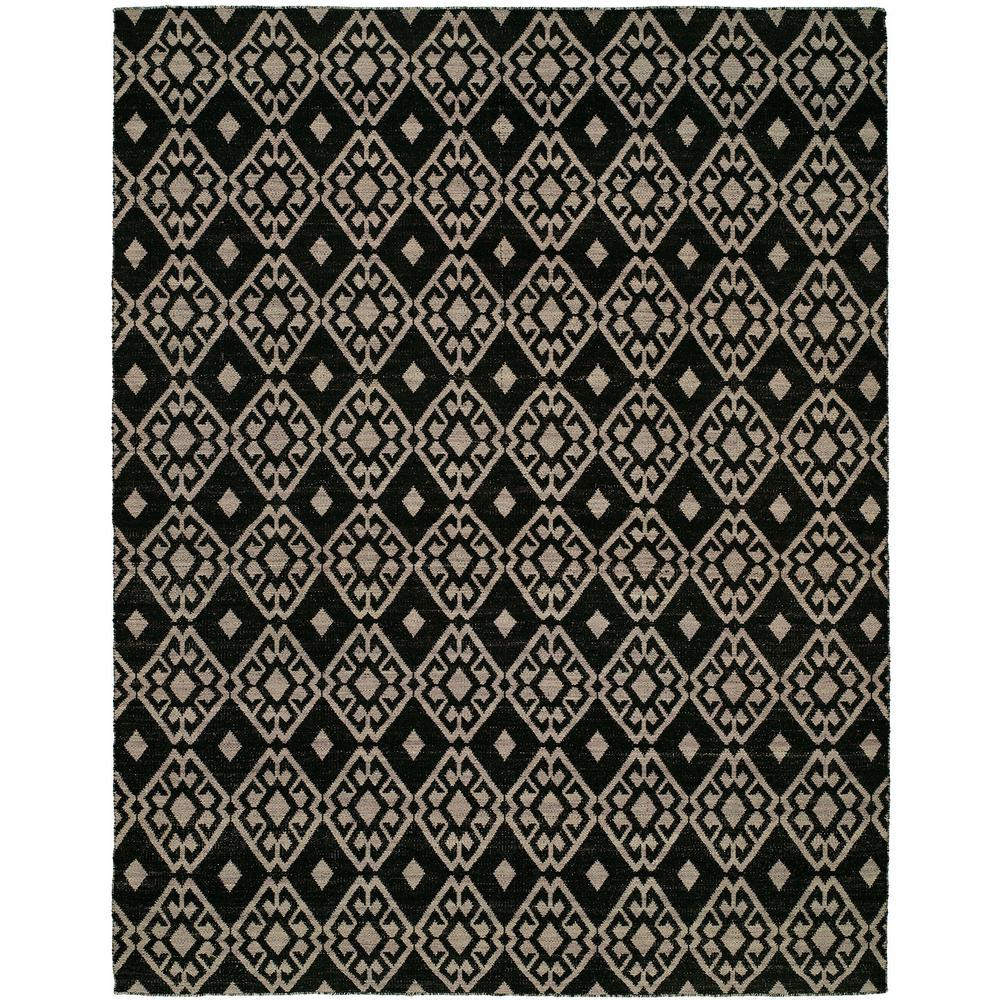 Endura Black/Lilac 9 ft. x 12 ft. Reversible Area Rug
