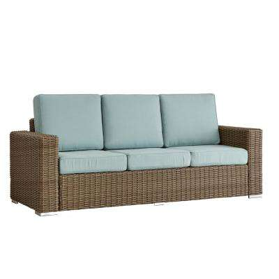 Camari Mocha Square Arm Wicker Outdoor Sofa with Blue Cushion