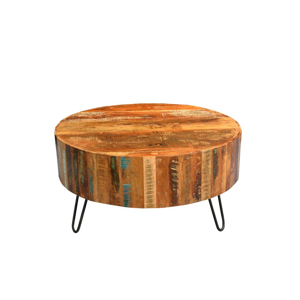 Tulsa Multi Colored Reclaimed Wood Round Coffee Table With Hairpin Legs