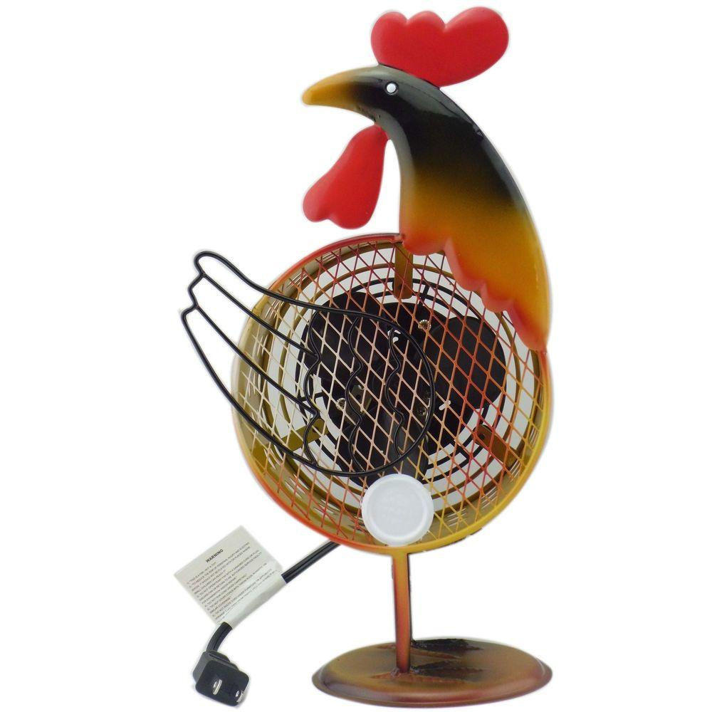 null Himalayan Breeze Decorative Fan Rooster 7in (Small)-DISCONTINUED