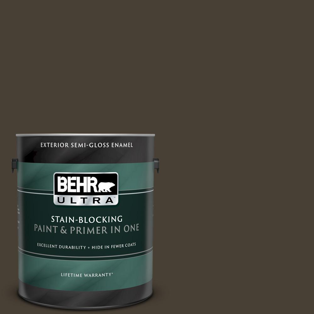 Behr Ultra 1 Gal Ul130 23 Sweet Molasses Semi Gloss Enamel Exterior Paint And Primer In One 585301 The Home Depot