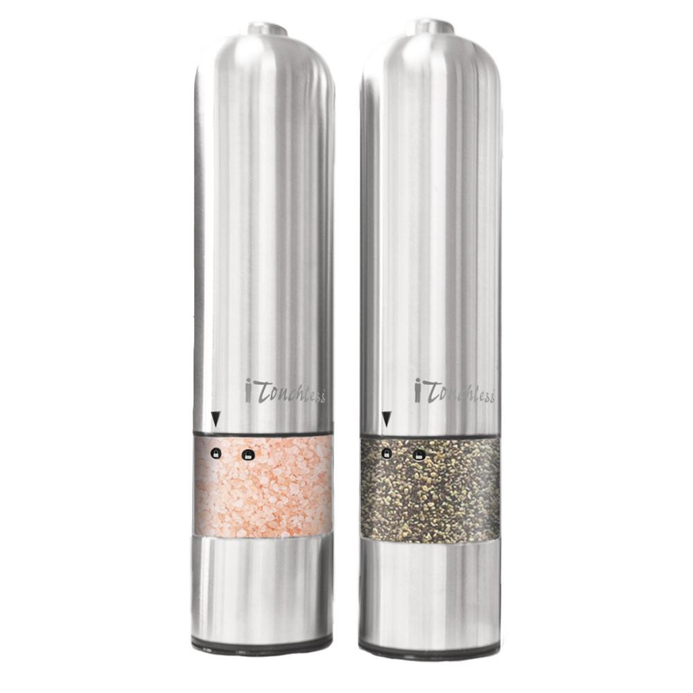 itouchless brushed stainless steel salt pepper mill. Black Bedroom Furniture Sets. Home Design Ideas