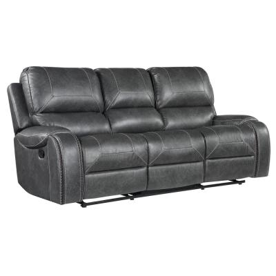 Keily 86 in. Grey Faux Leather 3-Seater Sofa with USB ports