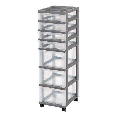 12.05 in. x 42.13 in. Gray 7-Drawer Storage Cart with Organizer Top (2-Pack)