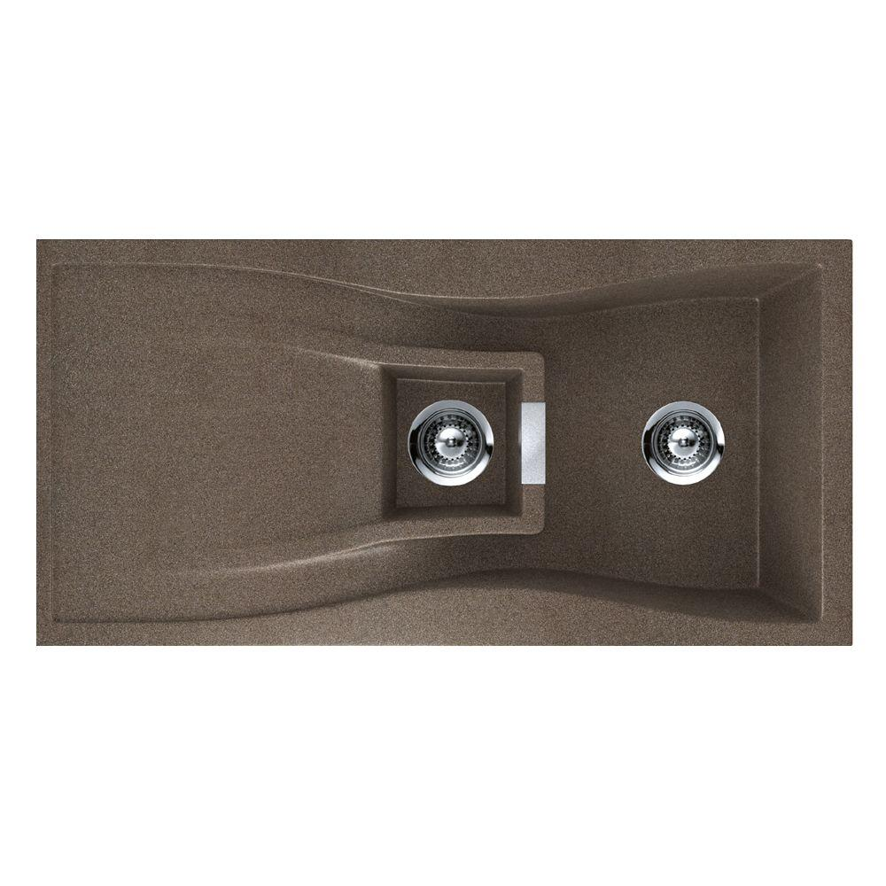 HOUZER Waterfall Series Drop-In Granite 39.375x19.688x7.25 0-hole Single Basin Kitchen Sink in Bronze-DISCONTINUED