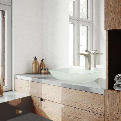 Rectangular White Frost Glass Vessel Bathroom Sink Set With Blackstonian Vessel Faucet In Brushed Nickel