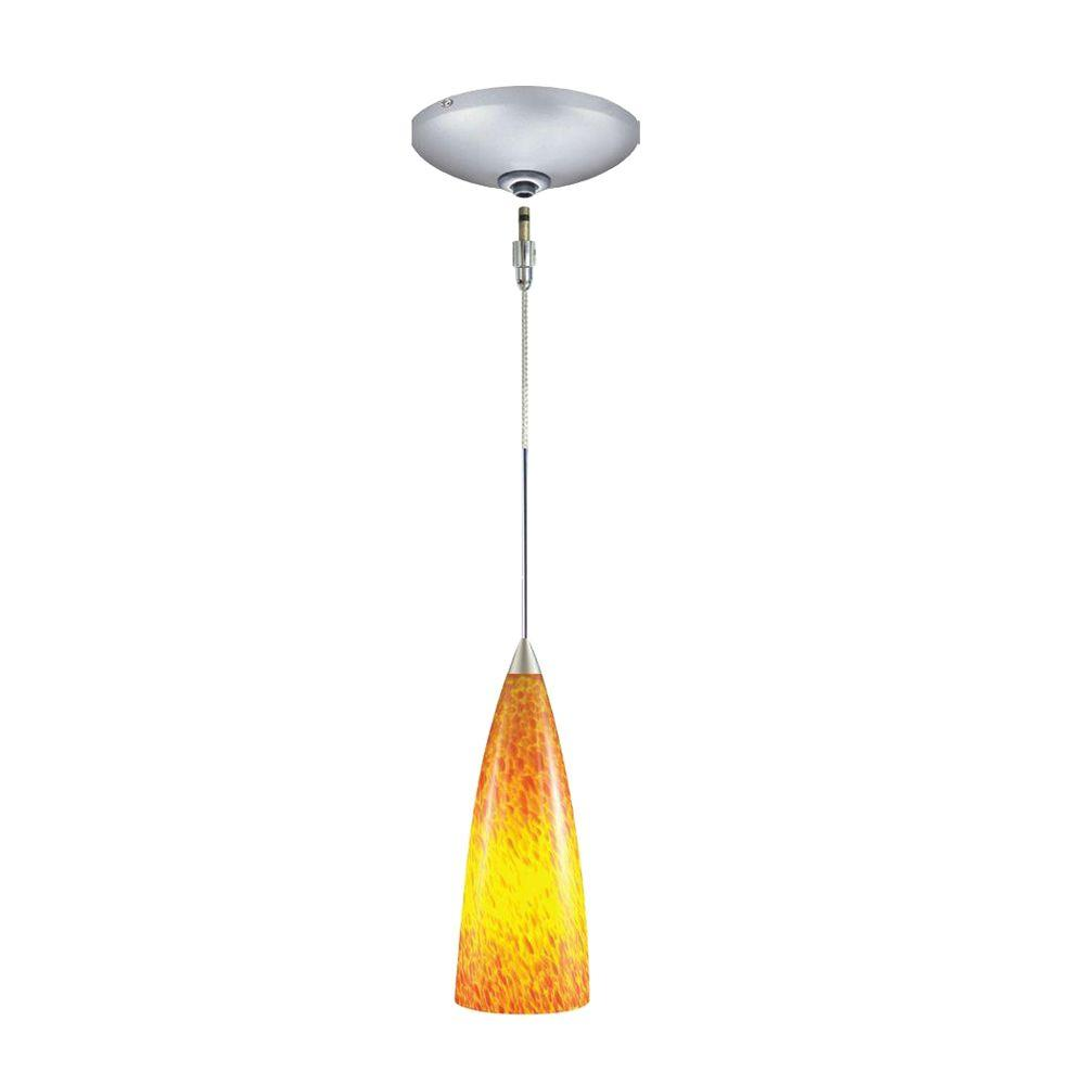JESCO Lighting Low Voltage Quick Adapt 4 in. x 108-1/4 in. Amber Frit Pendant and Canopy Kit