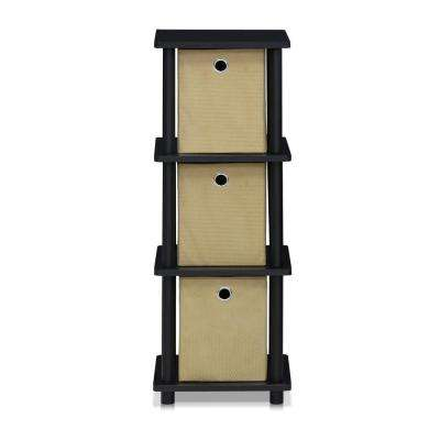Turn-N-Tube Black 3-Tier Shelf with Bins