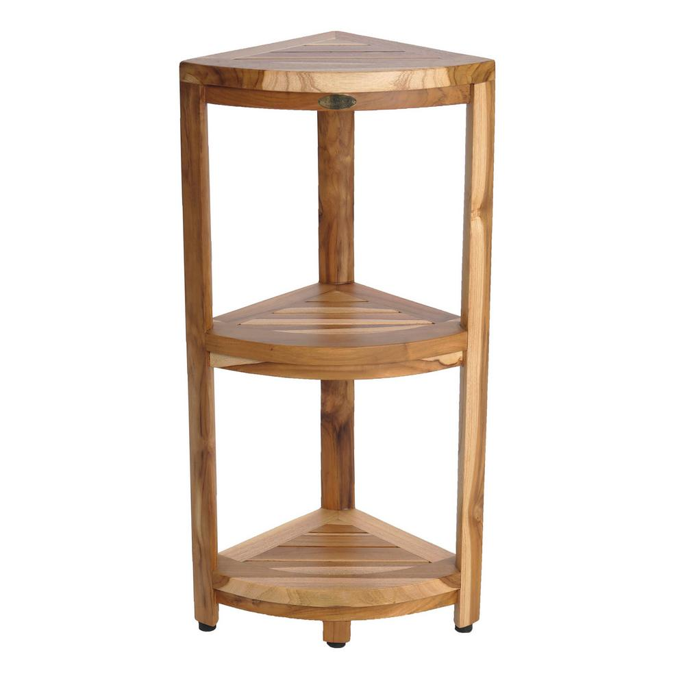 EarthyTeak Oasis 12 in. 3-Tier Teak Corner Shelf
