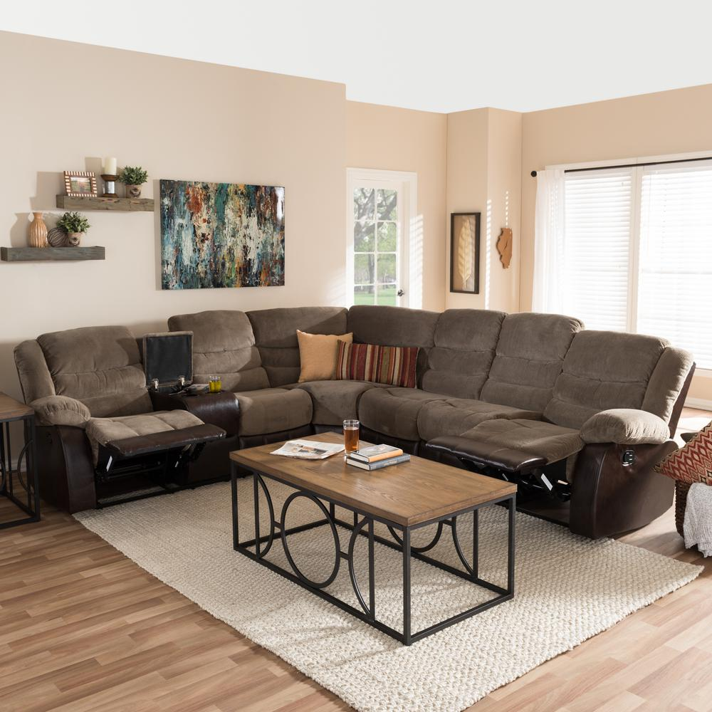 Baxton Studio Contemporary Taupe Brown Fabric Upholstered Shaped Sectional Sofa