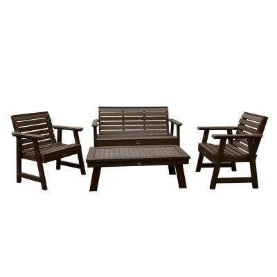 Highwood Patio Furniture.Weatherly Weathered Acorn 4 Piece Recycled Plastic Outdoor Conversation Set
