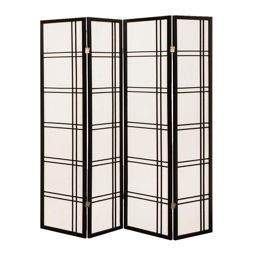 Shoji Screen 6 ft. Black 4-Panel Room Divider