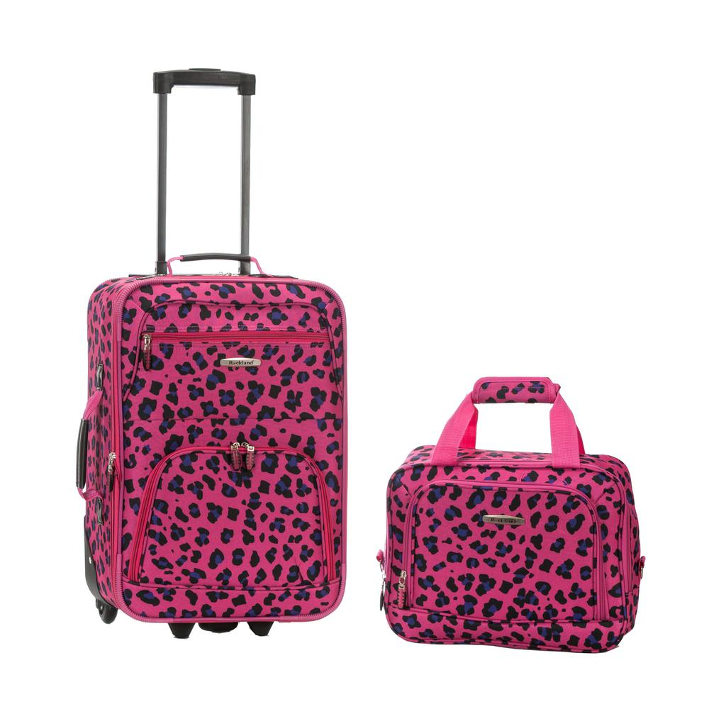 Rockland Rockland Rio Expandable 2 Piece Carry On Softside Luggage Set Magentaleopard F102