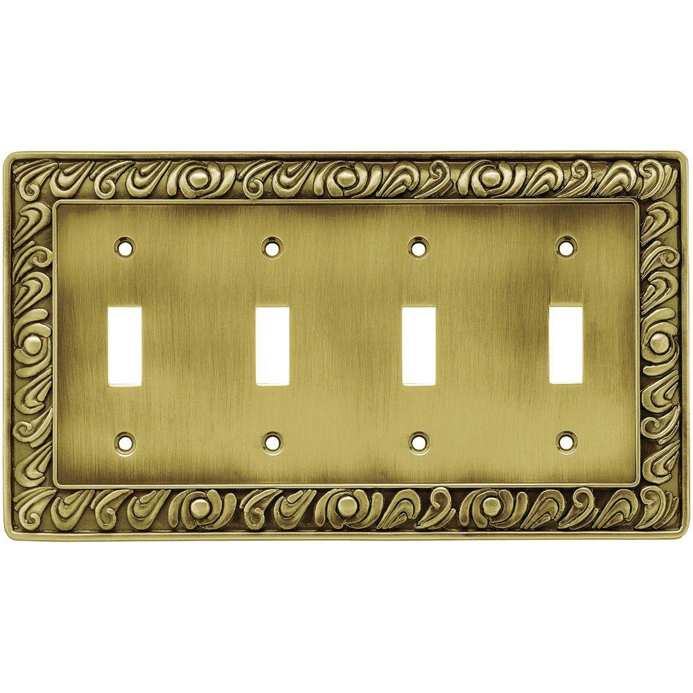 Gold Switch Plates Liberty Paisley Decorative Quadruple Switch Plate Tumbled Antique