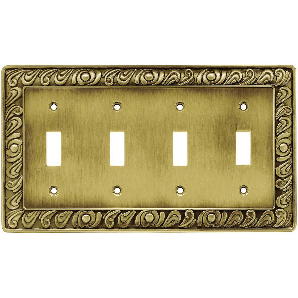 Paisley Decorative Quadruple Switch Plate, Tumbled Antique Brass