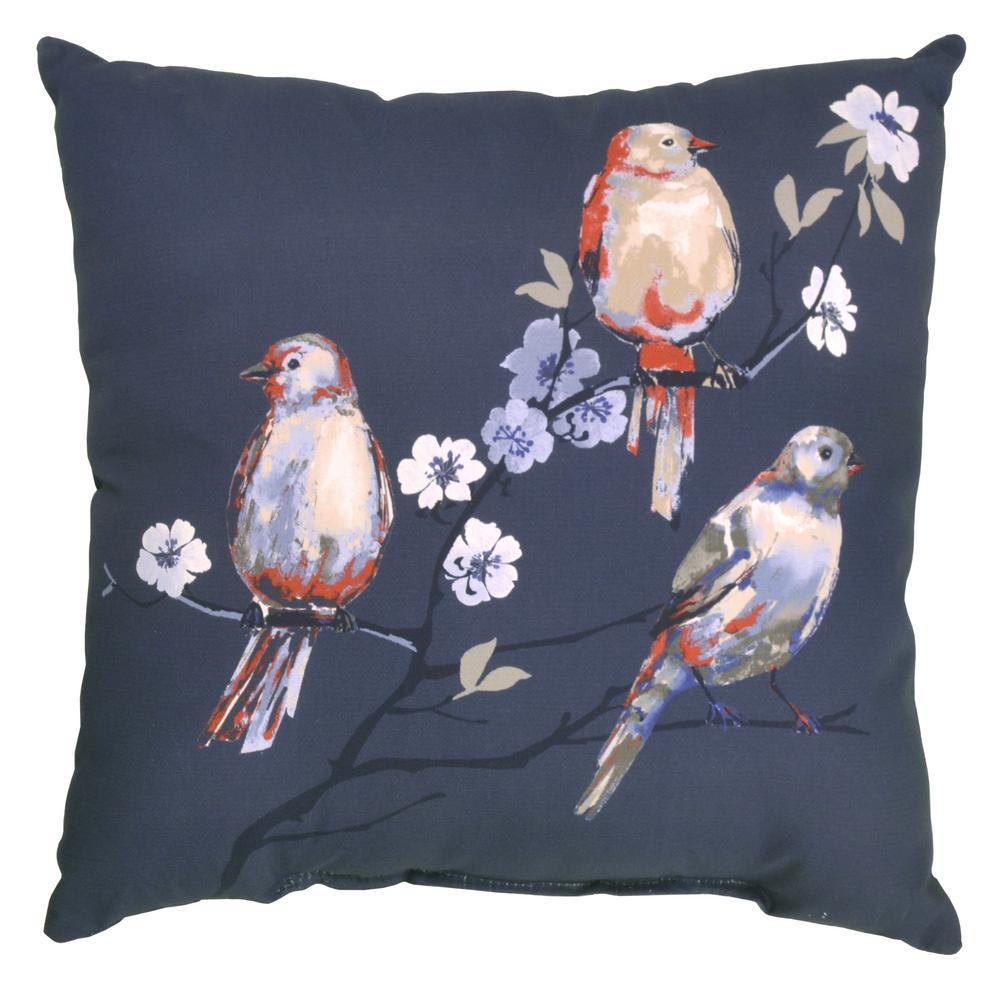 Hampton Bay Sky Birds Square Outdoor Throw Pillow 7680 04526411 The Home Depot