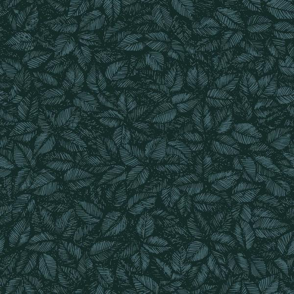 undefined 8 in. x 10 in. Amorina Teal Leaf Wallpaper Sample