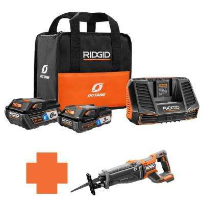18-Volt OCTANE Battery and Charger Kit w/(1) 3.0 Ah, (1) 6.0 Ah Battery and Charger w/Bonus Brushless Recip Saw