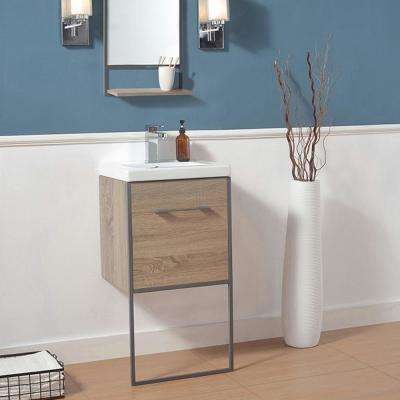Dublin 18 in. W x 15.75 in. D Bath Vanity in Taupe Wood with Ceramic Vanity Top in White with White Basin and Mirror