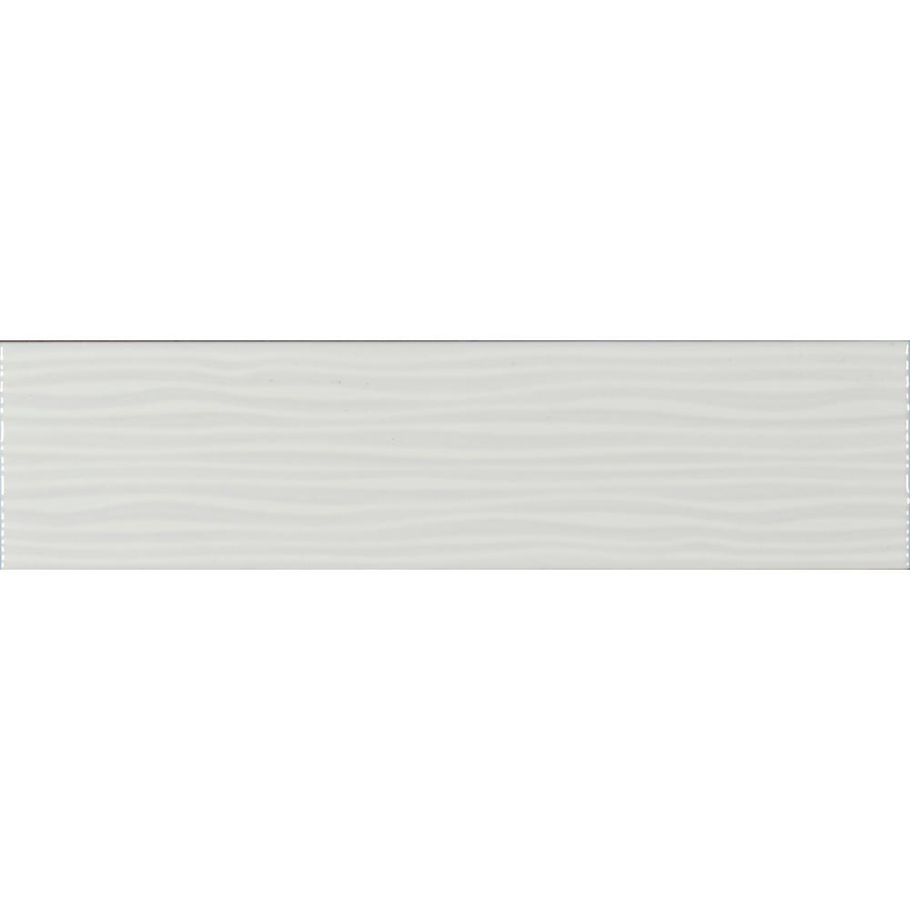 Ola White 4 in. x 16 in. Glazed Ceramic Wall Tile