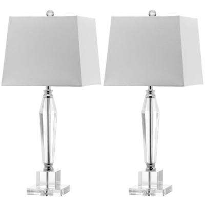 Aiden 28 in. Clear Faceted Crystal Lamp (Set of 2)