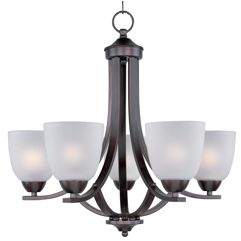 Maxim Lighting Axis 5 Light Oil Rubbed Bronze Chandelier With Frosted Shade