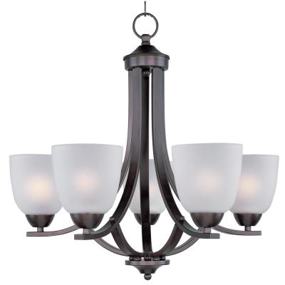 Axis 5-Light Oil Rubbed Bronze Chandelier with Frosted Shade