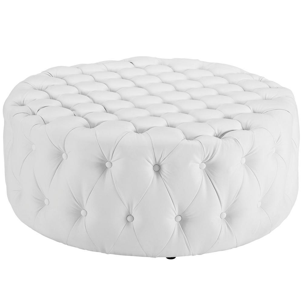 White Amour Upholstered Vinyl Ottoman
