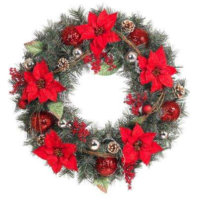 30 in. Red Poinsettia, Berries, Silver and Red Ball and Twig Pine Artificial Wreath