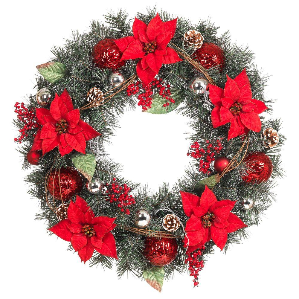 home accents holiday 30 in red poinsettia berries silver and red ball and