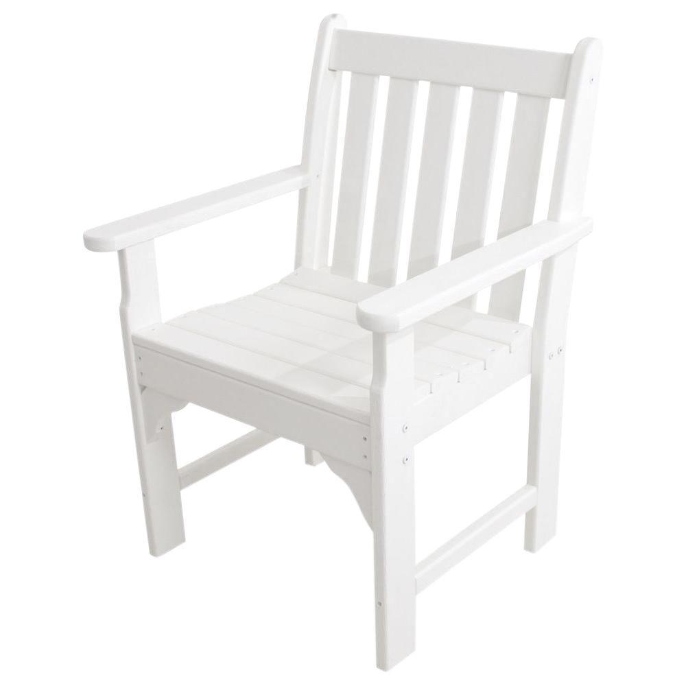 POLYWOOD Vineyard White Garden Patio Arm Chair