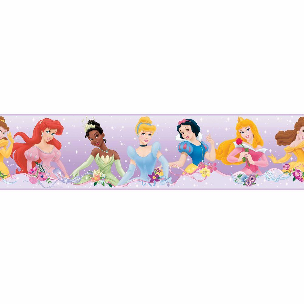 RoomMates 5 in. x 5 in. Disney Princess Yards Dream From The Heart Purple Peel and Stick Border