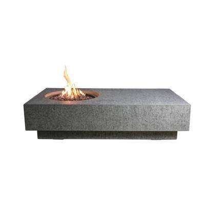 MetroPolis 32 in. x 14 in. Rectangle Concrete Propane Fire Pit Table with Burner and Lava Rock