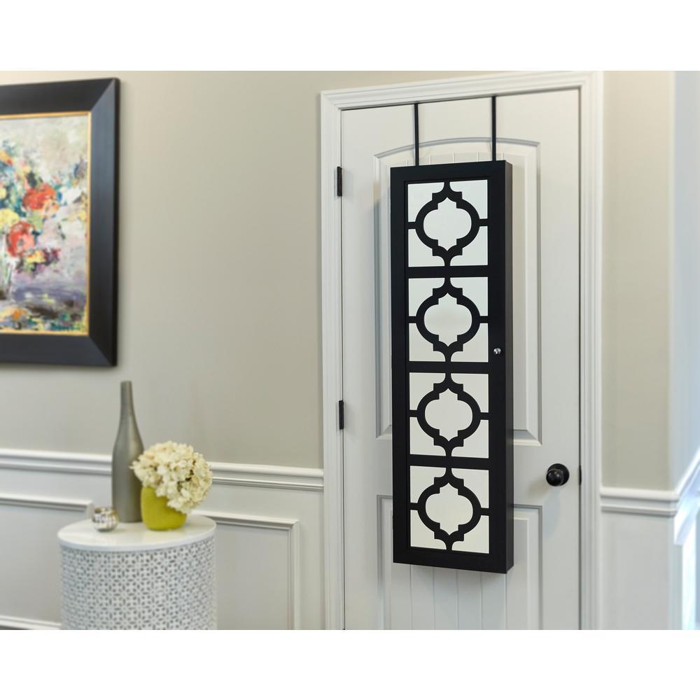 Black Designer Jewelry Armoire with Decorative Mirror