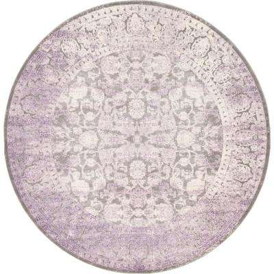 New Classical Light Gray 8' x 8' Round Rug