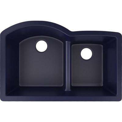 Quartz Luxe Undermount 33 in. Double Bowl Kitchen Sink in Jubilee with Aqua Divide