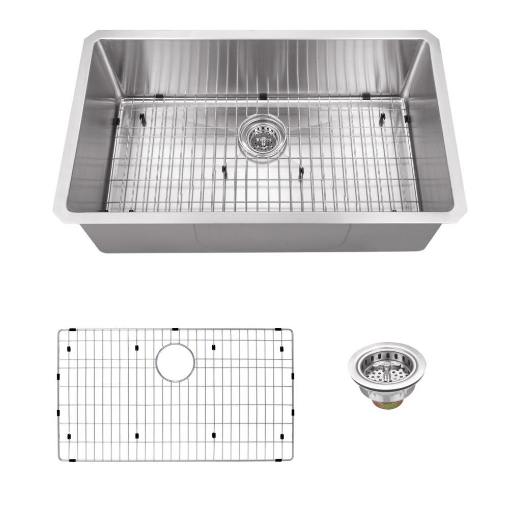 IPT Sink Company Undermount 32 in. 16-Gauge Stainless Steel Single Bowl Kitchen Sink in Brushed Stainless, Brushed Satin was $311.25 now $219.0 (30.0% off)