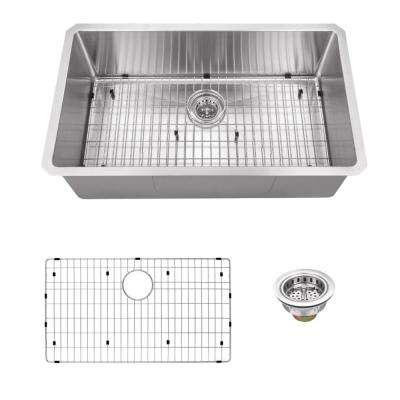 Undermount 32 in. 16-Gauge Stainless Steel Single Bowl Kitchen Sink in Brushed Stainless
