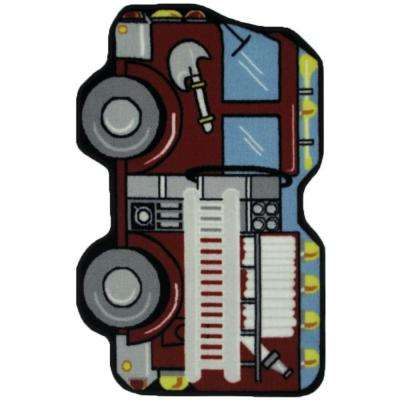 Fun Time Shape Fire Engine Multi Colored 3 ft. x 4 ft. Area Rug