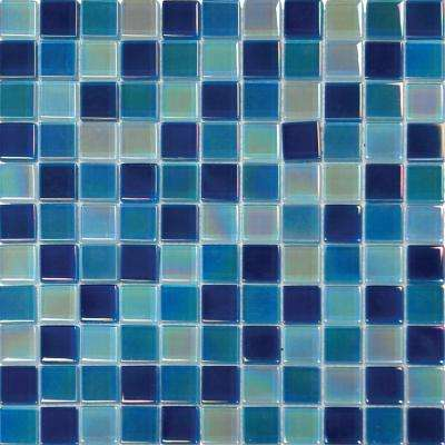 Iridescent Blue 12 in. x 12 in. x 8mm Glass Mesh-Mounted Mosaic Tile (10 sq. ft. / case)