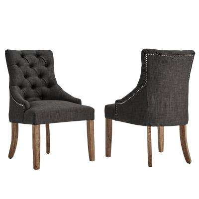Marjorie Dark Grey Linen Button Tufted Dining Chair (Set of 2)