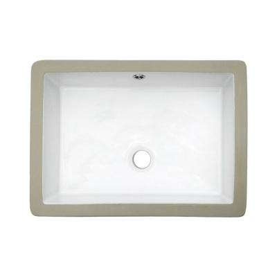 20 in. Undermount Rectangular Porcelain Ceramic Bathroom Sink in White with Overflow Drain