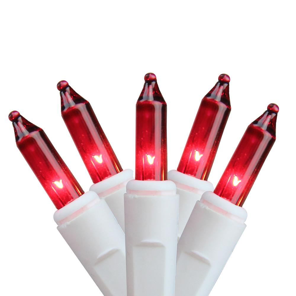 Red Mini Christmas Lights with White Wire (Set of 50)