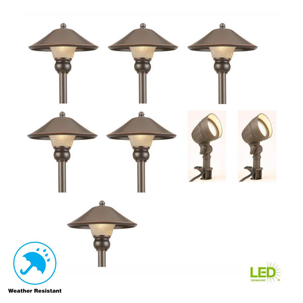 Hampton Bay Low-Voltage Bronze Outdoor Integrated LED Landscape Path Light and Flood Light Kit (8-Pack)