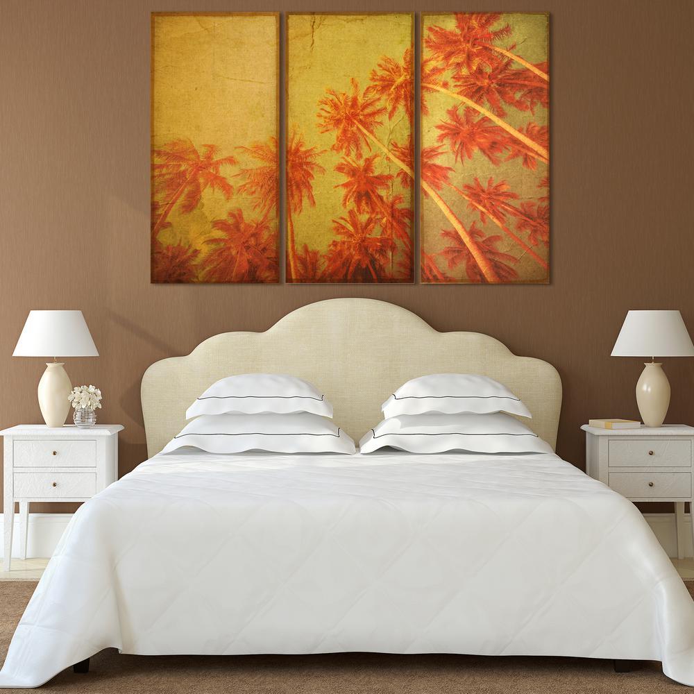 """48 in. x 24 in. """"Palm Trees"""" 3 Piece Digital Print on Fresco Jute Wall Art"""