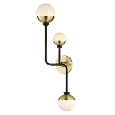 Hipster 3-Light Bronze/Brass Up and Down Wall Sconce with Glass Shade