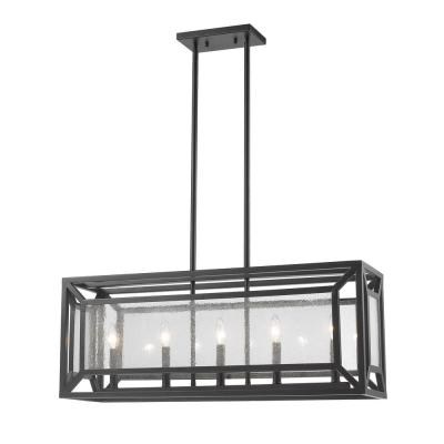 Leela 5-Light Bronze Pendant with Clear Seedy Glass Shade